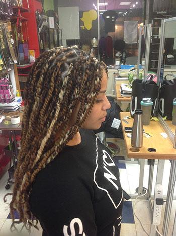Hair Twists on woman's hair