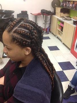 Cornrow Braids on woman's hair