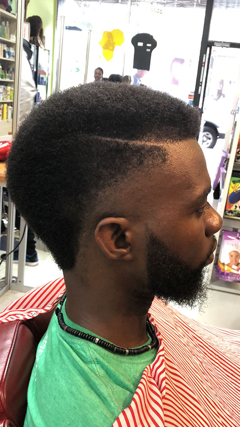 Men's haircut with fade