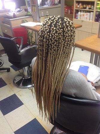 Box braids on a girl's hair
