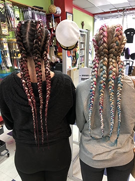 Cornrow Braids on girls hair extensions