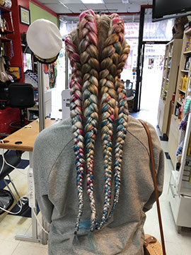 Cornrow Braids in girl's hair extension