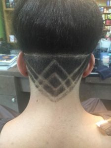 Haircut with design from the back
