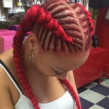 Cornrow Braids in red hair