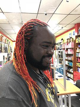 Cornrow Braids in man's long hair